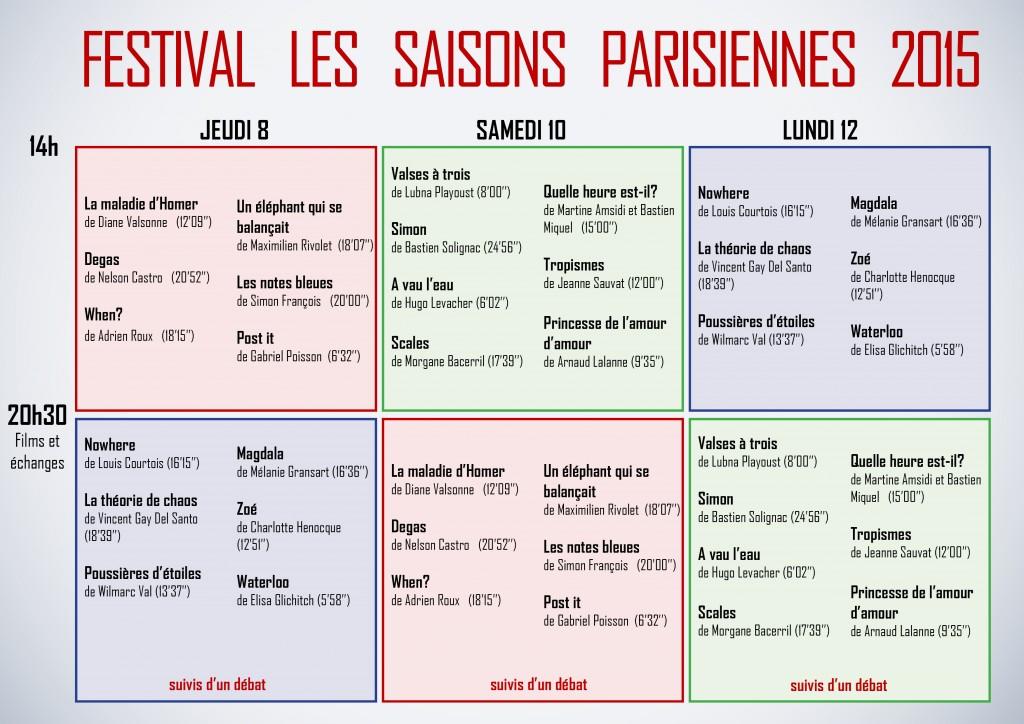 Saisons Parisiennes planning